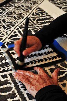Moroccan stencil work on fabric