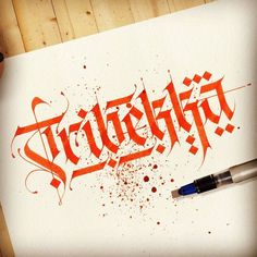 "For T-shirt design ""Tribekka""✍ Calligraphy Types, Calligraphy Drawing, Calligraphy Handwriting, Calligraphy Letters, Font Art, Script Lettering, Lettering Styles, Lettering Design, T Shirt Designs"