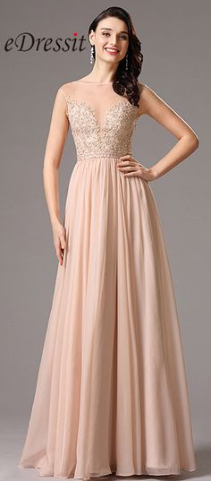 #eDressit A Line Peach Gown with Beaded Embroidery