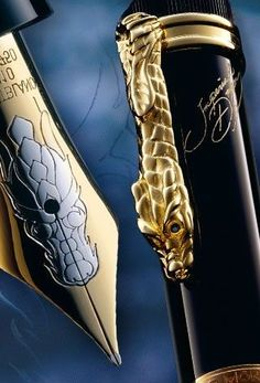 fabandluxe: Mont Blanc Imperial Dragon Limited Edition 888 fountain pen, with 18 karat gold nib and sapphires in the dragon's eyes. Of course they only made 888 of these pens