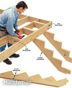 7 Deck Building Tips - Step by Step : The Family Handyman Deck Building Plans, Building Stairs, Deck Plans, Deck Design Tool, Patio Design, Stairs Stringer, Deck Construction, Deck Stairs, Into The Woods