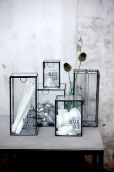 House Doctor glass boxes ♥ Another example of these for my living room table. House Doctor, House Dr, Interior Styling, Interior Decorating, Interior Design, Dr Glass, Interior Inspiration, Design Inspiration, Iron Storage