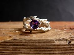 """Amethyst Gemstone Double Twisted Branch Elvish Twig  by Nafsika, $89.00 -- Hell yes.  If you're looking for a nature-inspired ring--get this one!  (If only because this is my new favorite """"I wish I had gotten this engagement ring"""" ring!)"""