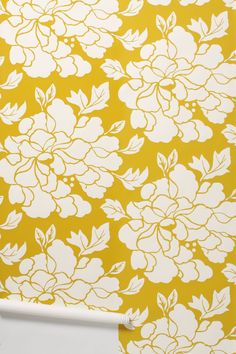 A little burst of yellow will make your room smile big. Paeonia Wallpaper - Anthropologie