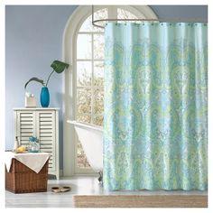 Piper Paisley Print Microfiber Shower Curtain - Teal : Target