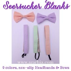Seersucker bows and non-slip headbands Azarhia!