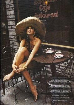 The ever gorgeous Cindy Crawford posing with her favorite cup of coffee.