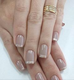 This is an awesome variation of the French manicure and is super easy to achieve Glitter nails with gold striping (you can mix and match the nail polish colors you want to use depending on what you're going to wear) are perfect for any gala event, - # Glitter Tip Nails, Gold Nails, Nail Polish Designs, Nail Polish Colors, Nail Design, Cute Nails, Pretty Nails, Milky Nails, Wedding Nail Polish