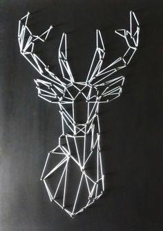 Cuadro Mdf Ciervo 25x35 Cuadro elaborado en MDF con clavos e hilo. Medidas 25X35x1,5 cm. Incluye soporte para colgar. Ideal para decorar tu espacio favorito.  Pago contra entrega en Medellín. Envíos a todo el país. Nail String, Deer, Space, Manualidades