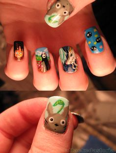 My Neighbor Totoro, Spirited Away, and Howl's Moving Castle - Studio Ghibli tribute nails