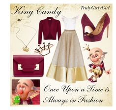 """Disney Style: King Candy"" by trulygirlygirl ❤ liked on Polyvore featuring Salvatore Ferragamo, Kaliko, Sophie Hulme and Tatty Devine"