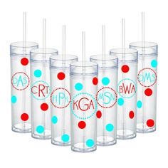Set of 20 Bridesmaids Wedding Party Personalized Monogram Acrylic Tumbler Turquoise and Red OR Choose Colors 16 Oz. Birthdays Reunions Gifts on Etsy, $220.00