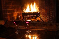 red wine and fire