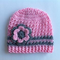 CROCHET HAT  Beanie Hat  Pink and Grey Hat  Crochet by 4PennyGirl