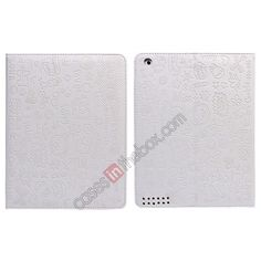 Fashionable Cute cartoon pattern Leather Case for iPad Air - White US$15.99