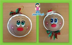 Yanny´s Crafts: Esferas Navideñas (Creación Original) Christmas Items, All Things Christmas, Christmas Crafts, Gingerbread Ornaments, Xmas Ornaments, Pen Toppers, Biscuit, Stone Crafts, Christmas Paintings