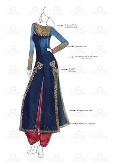 DIY Navy Blue Art Silk Achkan Suit