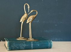 Vintage Brass Crane Egret Stork Bird Couple, Mid Century, Animal Statue Pair