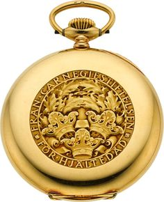 Timepieces:Pocket (post 1900), Swiss Rare 18k Gold Carnegie Foundation Presentation Pocket Watch,Original Box, circa 1928. ... Image #1