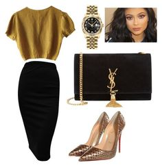 """Untitled #158"" by lillylilit on Polyvore featuring Schumacher, Christian Louboutin, Yves Saint Laurent, Rolex, women's clothing, women's fashion, women, female, woman and misses"