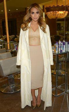 cream coat, nude pencil skirt, gold top, gold heels