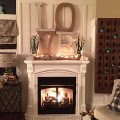 Valentine's Day mantel ideas. Tips on how to decorate your mantel after Christmas. Winter mantel ideas.