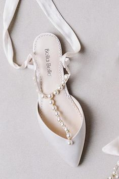 15 Flat Wedding Shoes To Dance All Night  flat wedding shoes v simple with pearls bellabelleshoes  #weddingdresses  - Night Out Dresses - Ideas of Night Out Dresses #NightOutDresses
