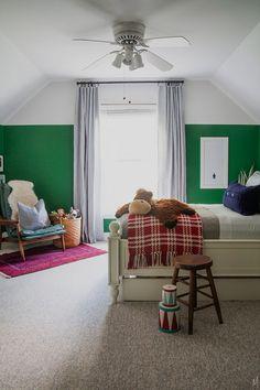 The Makerista: Modern Way to Paint an Attic Room   Green Walls   Boys Room