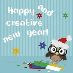 Owl Happy and Creative New Year by OkoLaa Creative illustration of little owl crafting origami New year text and snowflakes1 jpg5000x5000, Eps10 Everything is editableAll t