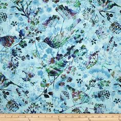 Natural Wonders Bird Silhouettes Light Blue from @fabricdotcom  Designed by Elizabeth Isles for StudioE Fabrics, this cotton print fabric is perfect for quilting, apparel and home decor accents. Colors include fuchsia, shades of blue, shades of purple, and shades of green.