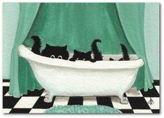 Fuzzy Black Kitty Cats - Three in a Tub Art  - 5x7 Print by AmyLyn Bihrle