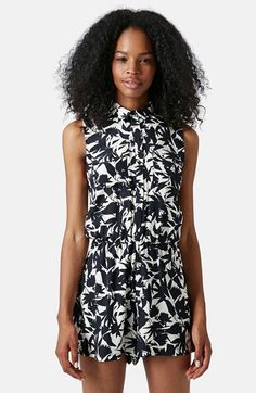 Topshop+Floral+Print+Button+Front+Romper+available+at+#Nordstrom