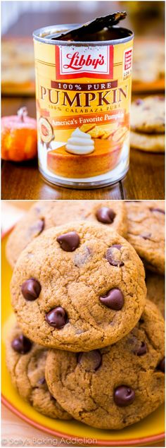 Chewy Pumpkin Chocolate Chip Cookies - finally a chewy (not cakey!---if you like pumpkin chocolate chip cookies these are delish! Pumpkin Cookie Recipe, Pumpkin Chocolate Chip Cookies, Pumpkin Recipes, Fall Recipes, Cake Mix Pumpkin Cookies, Pumpkin Spice, Pumpkin Pumpkin, Baking Recipes, Cookie Recipes
