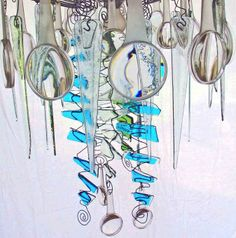 Fused glass jellyfish chandelier