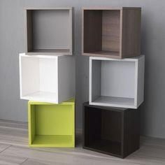 Square Wooden Box in Various Colours for Libera Shelving Frame - Contemporary wooden storage box in choice of green, white, brown, ash grey, dove grey or elm wood veneer.