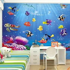 Finding Nemo Finding Dory Cartoon Wallpaper Kids Wallpaper Finding Dory Cartoon Fish Wallpaper for Walls Material: Eco-friendly. Listing is for 1 Piece. 3d Wallpaper For Walls, Tree Wallpaper, Kids Wallpaper, Print Wallpaper, Cartoon Wallpaper, Photo Wallpaper, Disney Wallpaper, Bedroom Wallpaper, Wallpaper Wallpapers
