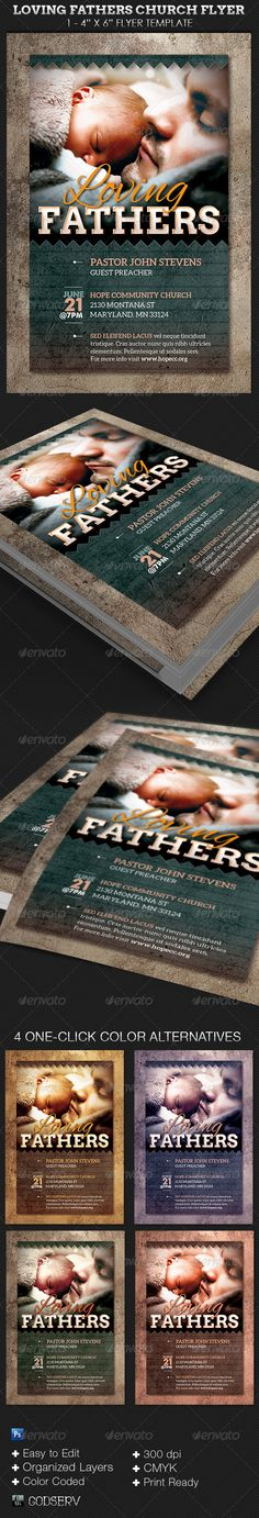 Loving Fathers Church Flyer Template $6.00 The Loving Fathers Church Flyer Template is geared for Fathers Day sermons and events. Great for men's conference, prayer breakfast and more.