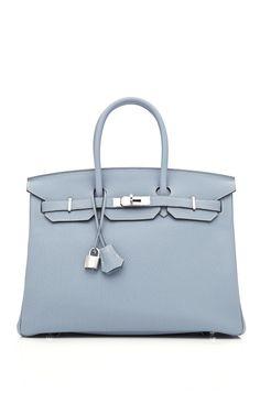 Hermes 35cm Blue Lin Clemence Leather Birkin at Moda Operandi