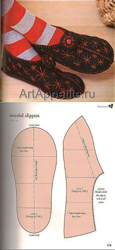 How to Make Fabric Slippers with Free Pattern www. Sewing Hacks, Sewing Tutorials, Sewing Crafts, Sewing Patterns, Crochet Shoes, Crochet Slippers, Sewing Clothes, Diy Clothes, Felted Slippers