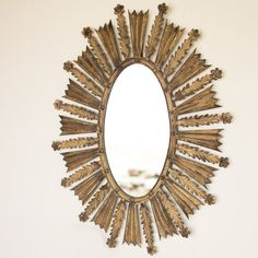 Metal Flower Burst Mirror gold