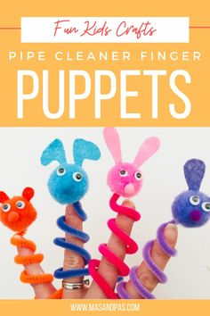 Pipe Cleaner Finger Puppets are an easy, mess-free kids craft and boredom buster perfect for rainy days! Fingerlings are loved by kids. But, if you prefer to make your own, then you can easily put together your own adorable pipe cleaner finger hugging puppets. They're cute, they're fun and your child might love them even more because they made them all by themselves. #fingerlings #fingerpuppets #DIYfingerpuppets #kidscrafts #artsandcrafts #pipecleanercraft