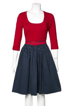 Pinup Couture Allison Dress in Navy & Red with White Pin Dot | Pinup Girl Clothing