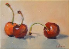 cheryl wilson - Cherries Two and One,  canvas 5x7