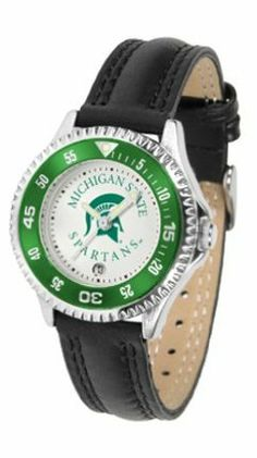 Michigan State Spartans Competitor Ladies Watch with Leather Band by SunTime. $74.55. The hottest sports watch on the market, the Competitor features the Michigan State Spartans team logo boldly displayed on the dial along with a colorful rotating timer/bezel, quartz accurate movement and leather/nylon strap. The combined leather underneath and nylon on top makes the watch water resistant as well.¶Wear it to a game, while watching a game or just to show off yo...