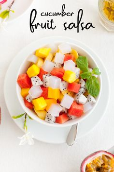 Try this refreshing new take on traditional salsa! Sweeten up the recipe with fresh fruit and cucumbers. This easy recipe will soon become a summer favorite! #HealthyFood #HealthySnack #HealthyTreat #HealthyMeal #HealthyRecipe #HealthyDinner #EasyRecipes #SalsaRecipe #Fruit #CleanEating #Nutrition #CleanRecipes #USANA #Vitamins #HealthyMotivation #FitnessMotivation #HealthyLifestyle