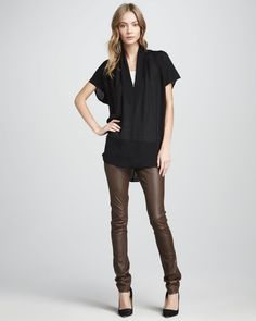 http://ncrni.com/vince-draped-silk-top-textured-leather-jeans-p-10727.html