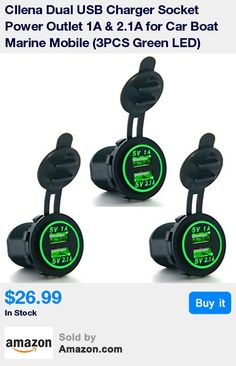 Package Included:3 x Green LED Dual USB Car Charger Adapter, 6 x Insulated Terminals * Water proof,High quality socket with USB duel accessory charger and sealing cap. * Charges for iPhones,mobile phone,iPads,vehicle,camera,mp3,GPS. phone, camera, mp3 * Has two ports one charging at 2.1 amp and one charging at 1 amp. A tight fitting cap protects the USB ports when not in use. All nylon construction and UV resistant. * Input : 12V,Output : 5V-3.1A * 14:18 Feb 1 2017