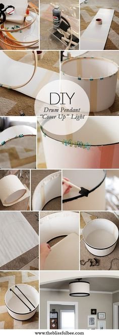 "DIY ""cover up"" Drum Pendant Light to cover up that builder basic light fixture 