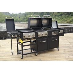 Outdoor Gourmet Pro™ Triton Supreme 7-Burner Propane and Charcoal Grill, Griddle and Smoker Combo