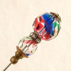 antique hat pins | Vintage Art Deco Hat Pin Art Glass Rhinestones Brass by Revvie1